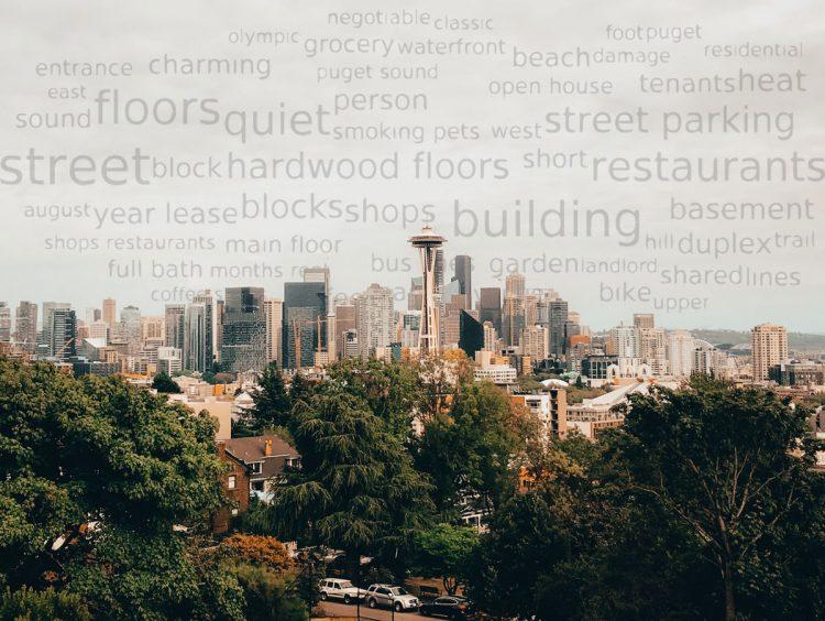 words in the sky of a seattle neighborhood