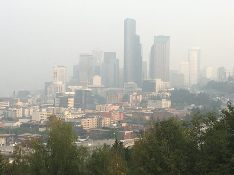 downtown seattle in smoke