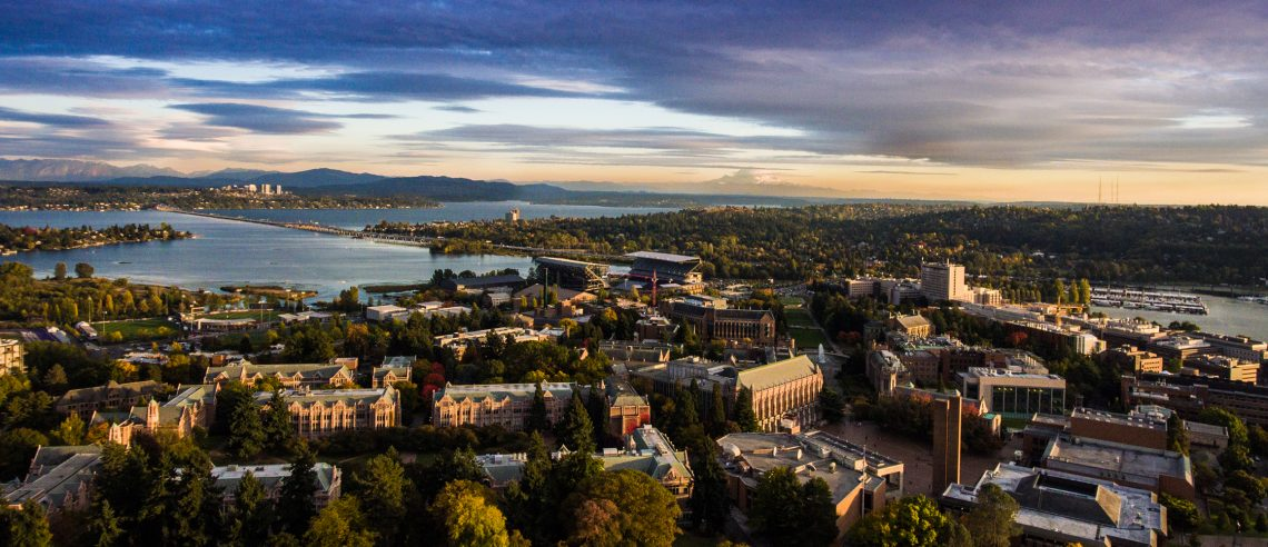 Aerial shot of the University of Washington campus in Seattle