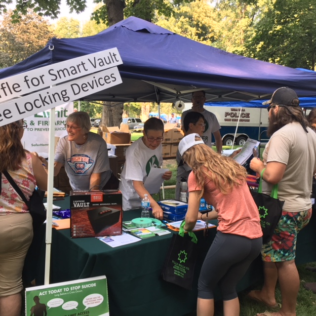 visitors approach a booth with volunteers at a park