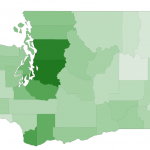 map of washington with counties shaded by how much their hourly self sufficiency wage is