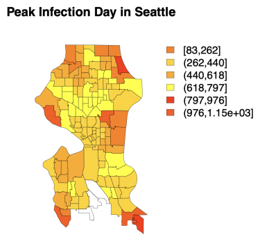 Color-coded map of Seattle showing neighborhoods with an estimated 83 days to peak infection, to more than 1,000 days