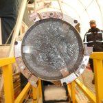 closeup of ice in metal barrel