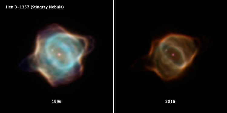Two images of the Stingray Nebula, shown side-by-side for comparison. On the left is the nebula in 1996, on the right is the nebula in 2016.