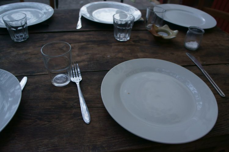 Dinner setting on wood table