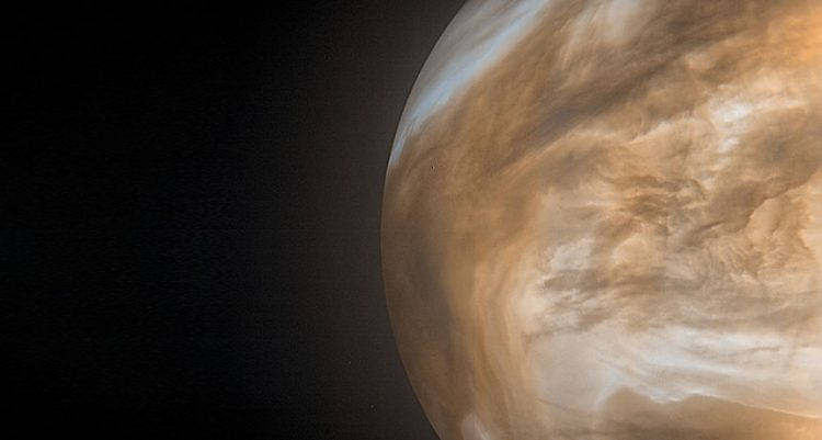 An image of the night side of the planet Venus in thermal infrared