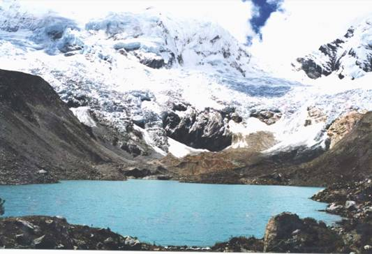 green lake with glacier behind