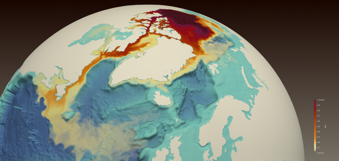 Colored map of the North Atlantic and Arctic