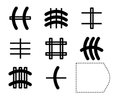 3 by 3 grid of various shapes and lines, with the bottom right tile missing
