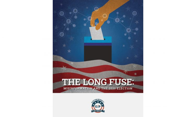 """illustration of a person putting a ballot in ballot bos with text """"The Long Fuse: misinformation and the 2020 election"""""""