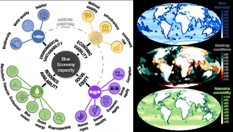 three colored world maps