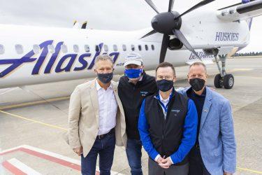 Jeff Pinneo, Brad Tilden, Horizon Air President Joe Sprague and Glenn Johnson at the livery unveiling late last month.