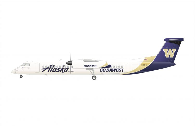 A rendering of the UW-themed livery on a Horizon Air Q400 aircraft.