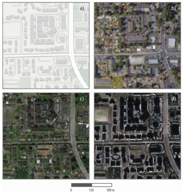 map illustration in top left; satellite photo of Tacoma top right; simulated photos of Tacoma using data from Seattle on the lower left and Beijing on the lower right