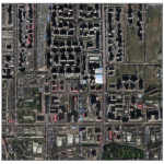 satellite photo of Tacoma using geospatial data from Beijing, with shadows cast from most buildings