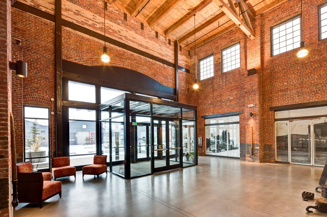 inside of a warmly lit brick building