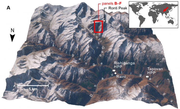 A 3D rendering of the area described in this story, showing Roti Peak and the various river valleys. This image also contains a map to highlight where in India this place is located.
