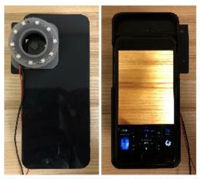 On the left, a camera attachment covers the phone camera. On the right, a photo on the phone screen