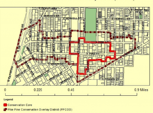 A map of the city's Pike/Pine Conservation Overlay District