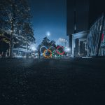 Olympic rings lit up at night