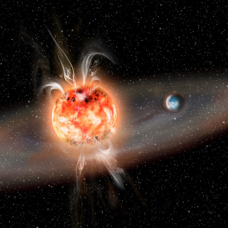 an artists depiction of a small star with a planet orbiting it