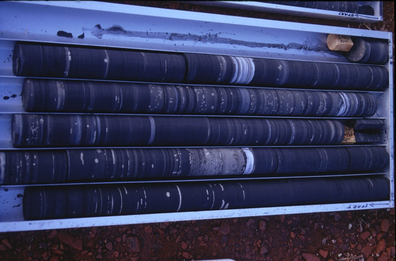 The drill cores lay on their sides showing layers and layers of dark and light rock