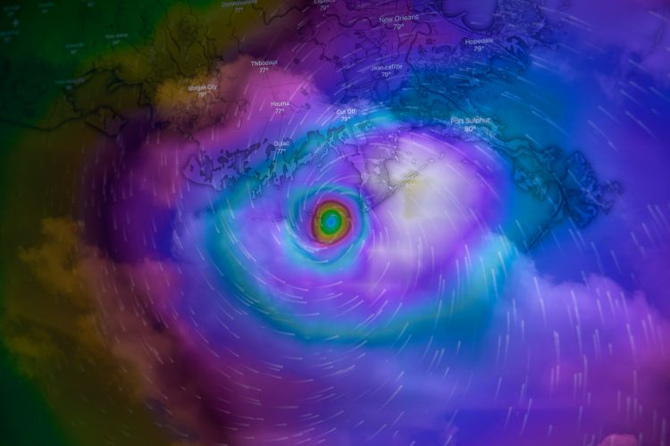 A graphic showing Hurricane Ida superimposed on top of a map