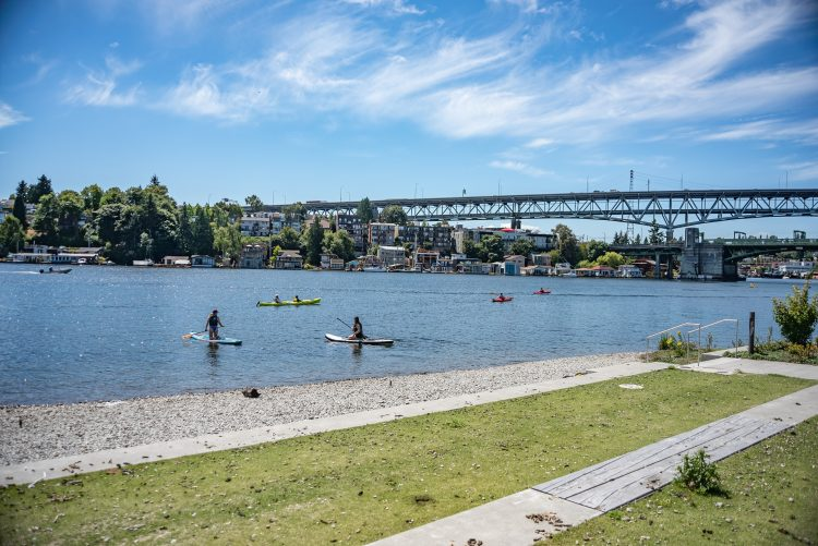 A park on the water with people on stand-up paddleboards and in kayaks
