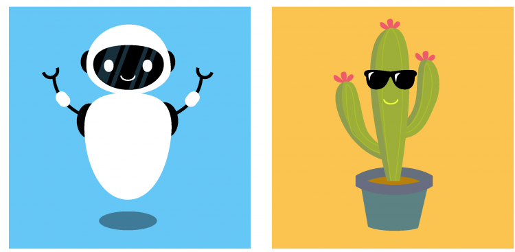 two drawings: a smiling robot and a smiling cactus wearing sunglasses