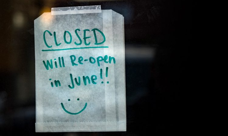 closed sign in a shop window