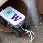 A rover entering a pipe
