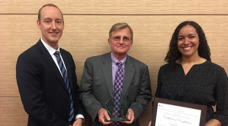 Assistant professor George Schade, left, Chair Emeritus Paul Lange, and resident Shannon Cannon are current and past awardees of the Urology Care Foundation