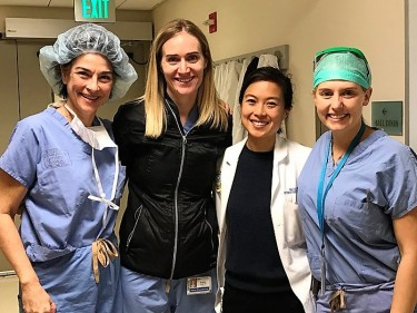 L-R: Dr. Suzette Sutherland, ARNP Emily Schade, Chief Resident Dr. Geolani Dy, and U2 resident Dr. Tristan Nicholson