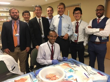 Dr. Studer, fifth from left, instructing fellows and residents how to construct a Studer bladder substitution
