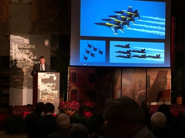 Dr. John Meehan brings the U.S. Navy's Blue Angels to his lecture at the 2017 Symposium on Pediatric Robotic Surgery