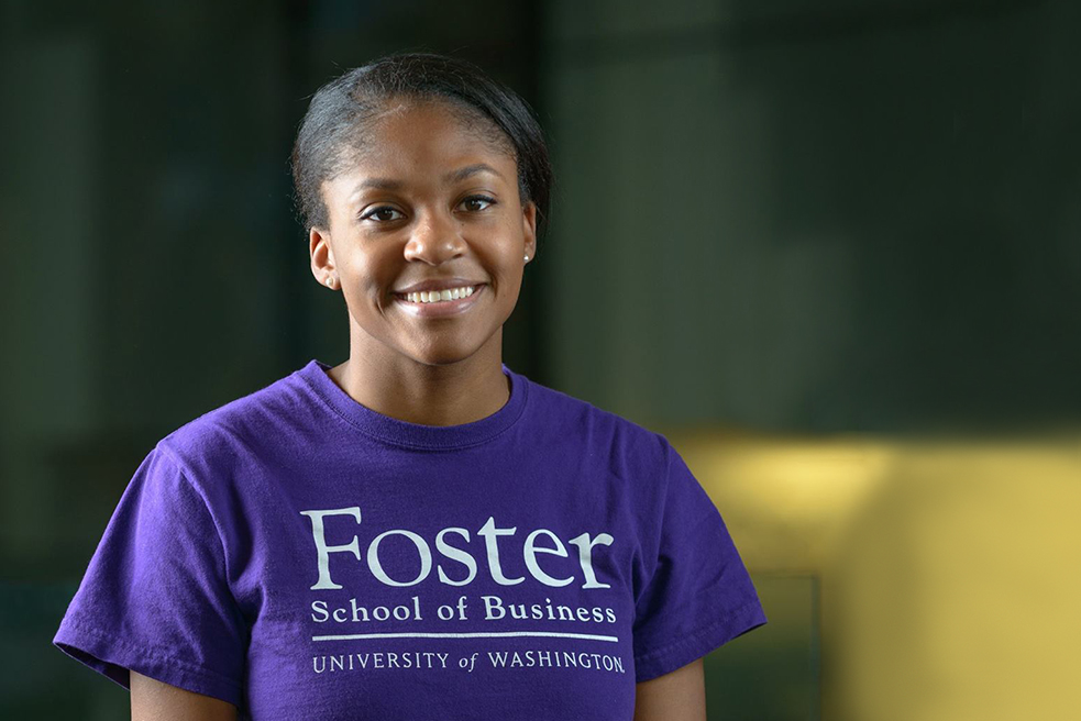 woman wearing shirt that says Foster School of Business University of Washington