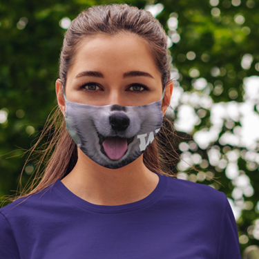 woman wearing a face mask showing a Husky dog nose