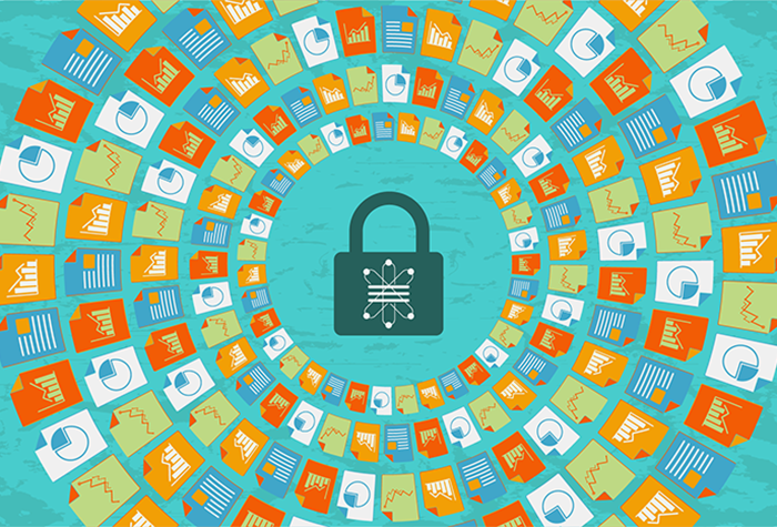 Graphic of padlock in the center that is surrounded by icons that represent different file types.