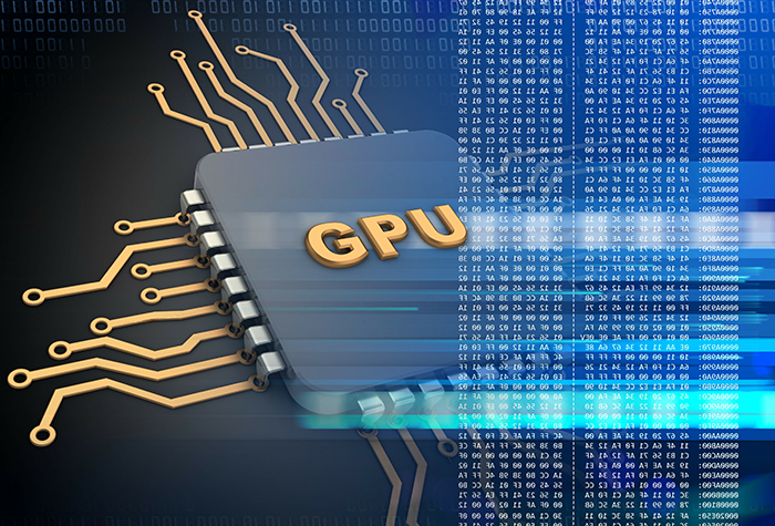 3d illustration of electronic microprocessor over black background with gpu sign