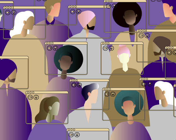 Graphic depiction of a diverse set of people communicating digitally and being socially distanced.