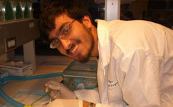 Pavan Vaswani working in lab