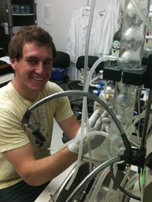 Bryce Johnson working in lab