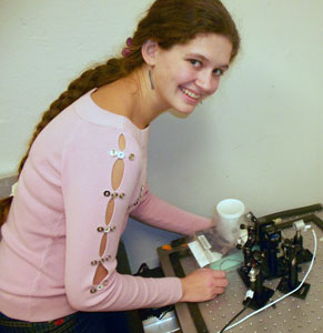 Sasha Zhdanova working in lab
