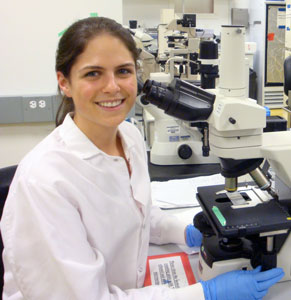 Bryn Smith working at microscope