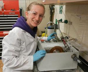 Natalie Larson working in lab
