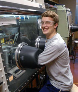 Ben Horst working in fume hood