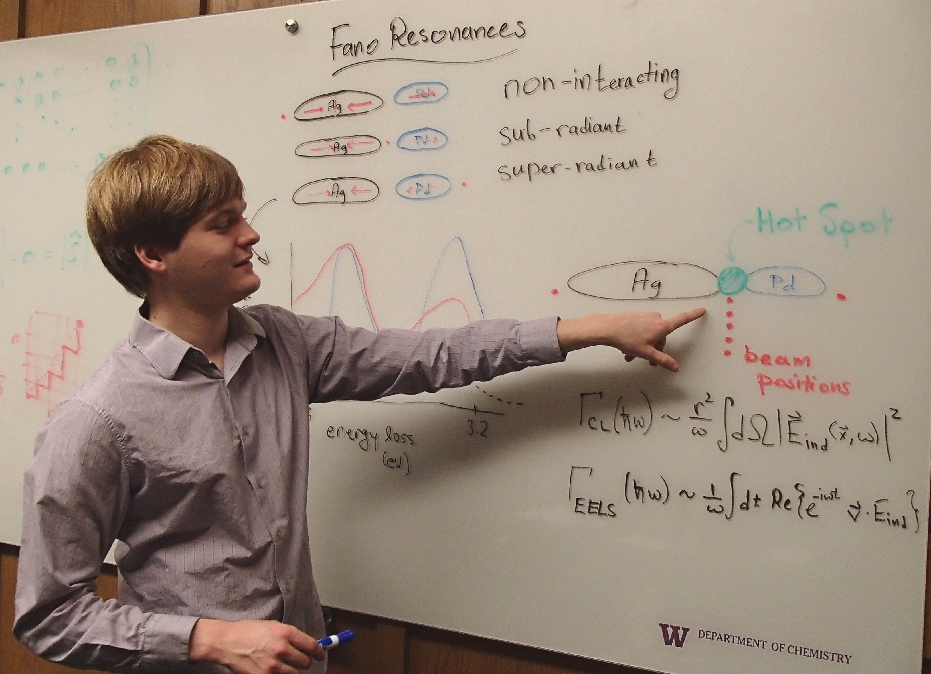 Alex Vaschillo explaining research at the whiteboard