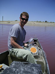 Jeff Bowman on a boat