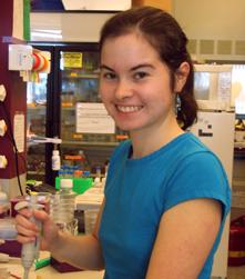 Kathryn Winglee in lab