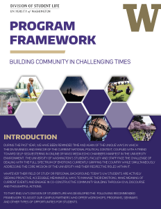 Image of the cover page of the Student Life Program Framework for Building Community in Challenging Times